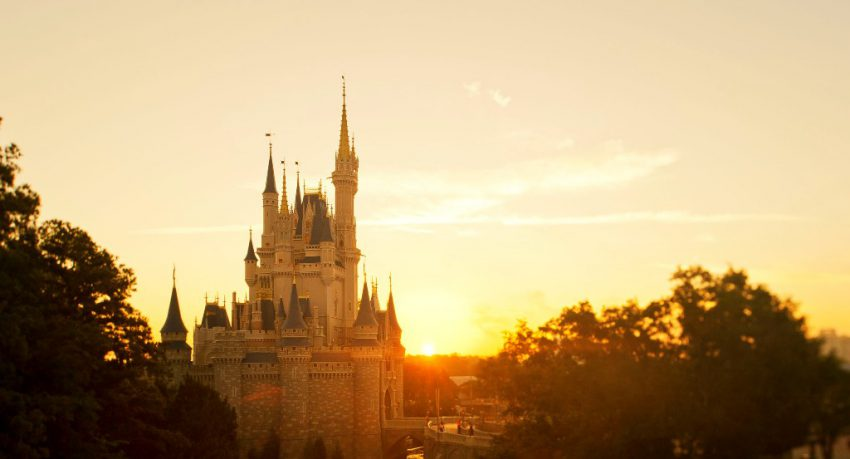 disney world castle sunset