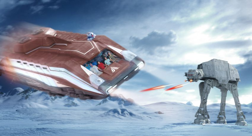 ATAT Walker fighting spaceship star tours