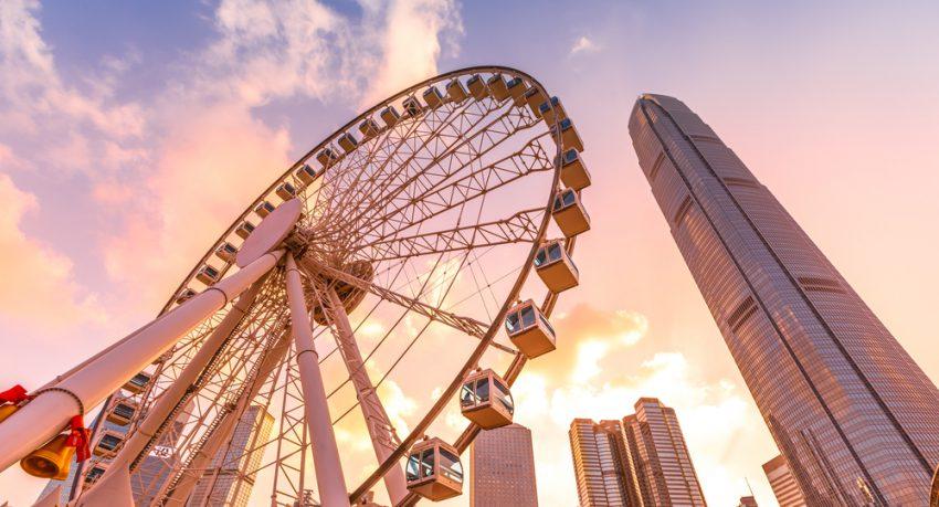 hong kong observation wheel at dawn