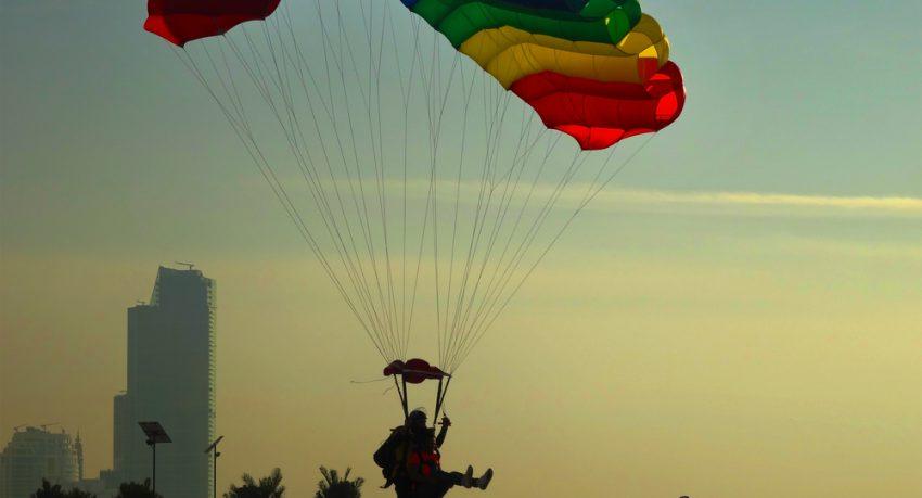 tandem skydiver landing in dubai