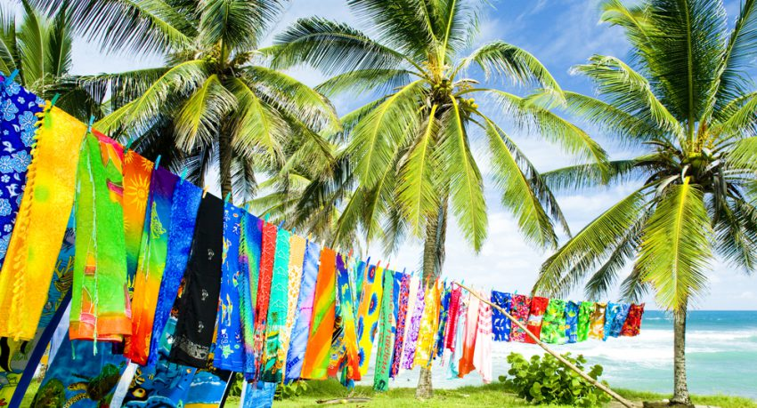 typical fabrics drying for souvenirs on west coast barbados