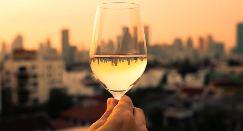 wine from restaurant with view of new york