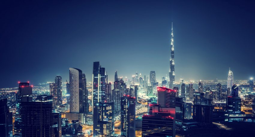 dubai by night skyline