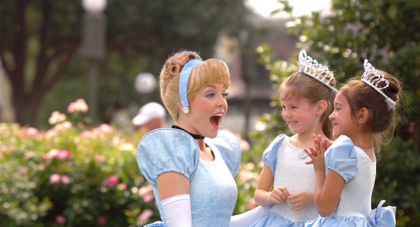 magic kingdom cinderella with kids