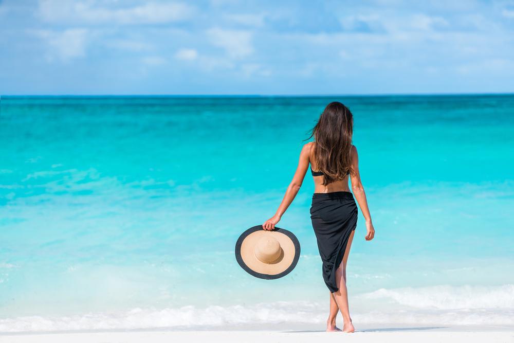 woman in caribbean beach
