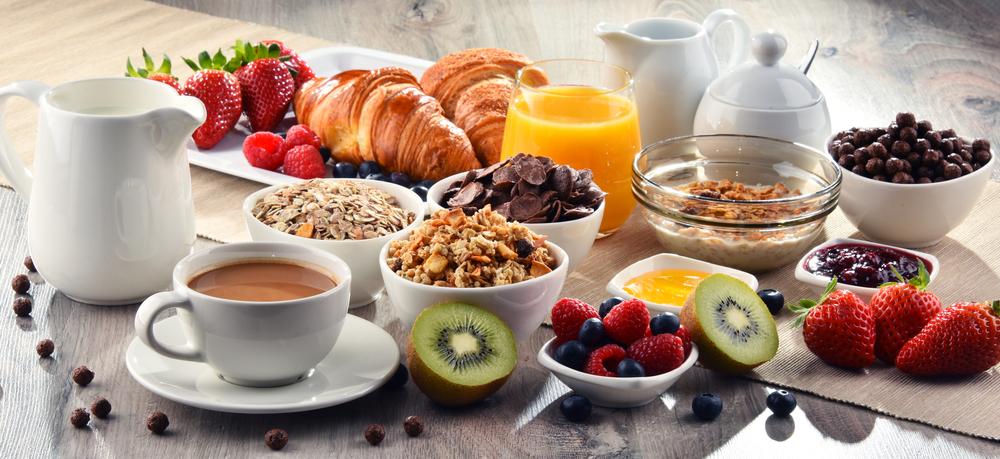 enjoying a big breakfast